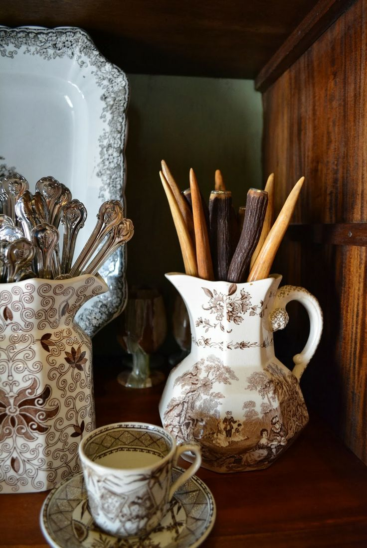 Nancy's Daily Dish: Dining Room Updates ~ Brown Transferware Display