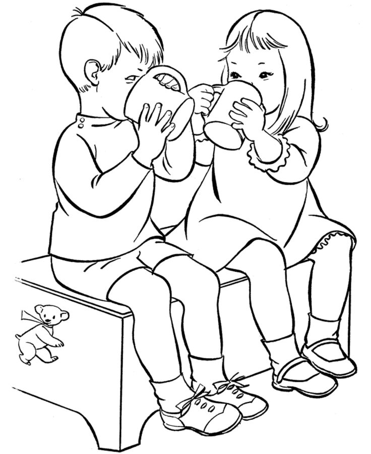 drinking water alone children coloring pages for kids printable drinks coloring pages for kids