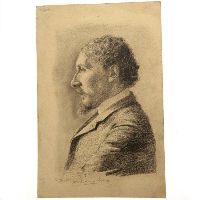 Hermann Struck - Profile Portrait, Pencil on Paper 1904 : Lot 45