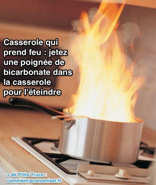 Eteindre une casserole avec du bicarbonate de soude