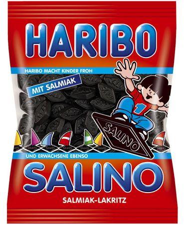 Qui ne connaît pas les fameux Salinos d'Haribo de son enfance ? Ils ont bon goût et avec une forte proportion de Salmiakki ( type de réglisse scandinave ) et sans gélatine. Idéal pour les amateurs de réglisse noir sucrée.