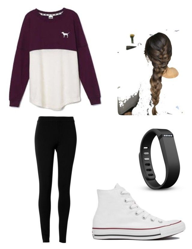 """Common White Girl Outfit"" by musicalpuppy on Polyvore featuring Victoria's Secret, Max Studio, Converse and Fitbit"
