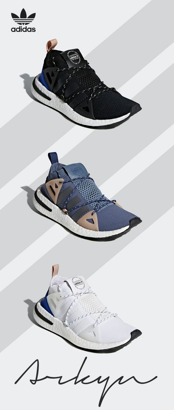 Inspired by vintage running styles, the Arkyn adds a modern shape and playful touches. These shoes have a comfortable sock-like fit, distinctive Boost midsole, and details inspired by running - an ultra-modern streetwear shoe based on the archives. Find more info at adidas.com.