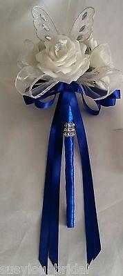 Wedding Flowers Bridesmaids Bouquet Wands White Butterfly Wand Royal Blue Satin