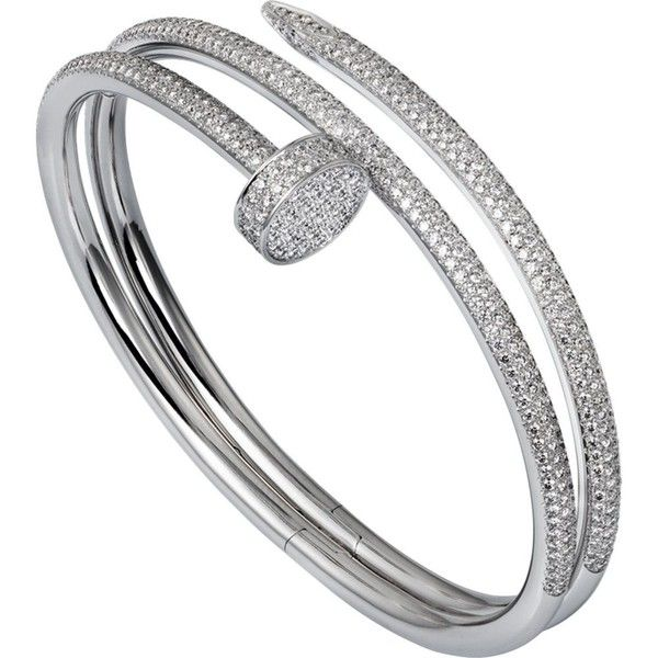 CARTIER Juste un clou 18ct white-gold and diamond double bracelet ($86,725) ❤ liked on Polyvore featuring jewelry, bracelets, accessories, cartier bangle, cartier jewellery, white gold jewelry, white gold jewellery and white gold bangle