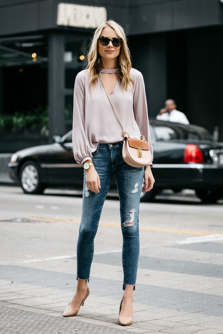 Fashion Jackson, Street Style, Blush Pink Cut Out Blouse, AG Jeans, Step Hem Distressed Skinny Ankle Jeans, Sam Edelman Nude Pumps, Chloe Drew Handbag
