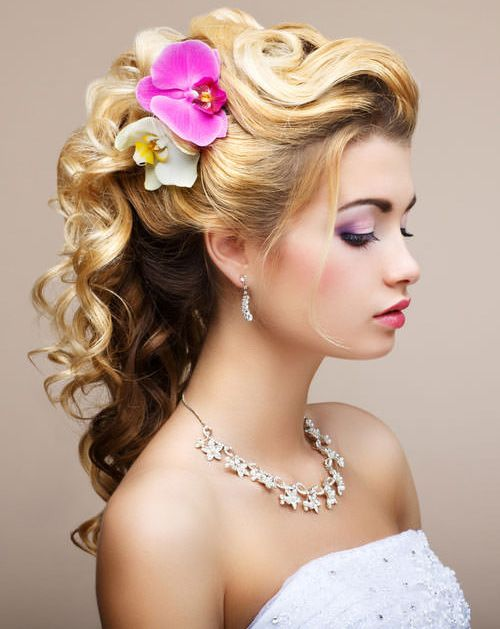 Fabulous Pastels Long Wedding Hairstyles with Lovely Orchids