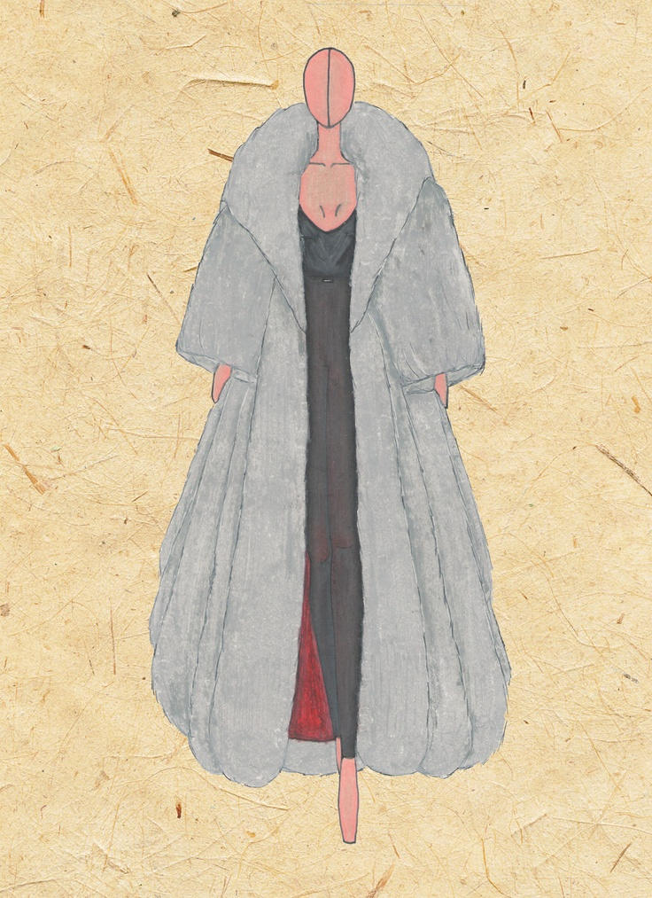 Casaco pele de chinchila, inspirado no personagem Cruela de Vil, calça legging latex e blusa preta seda