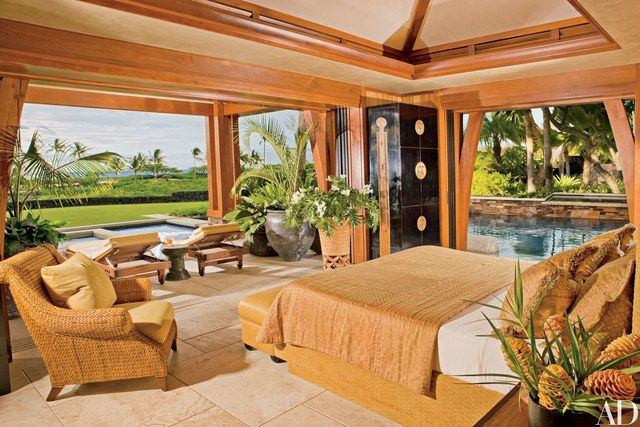 The master bedroom flows seamlessly onto a covered lanai and an outdoor spa