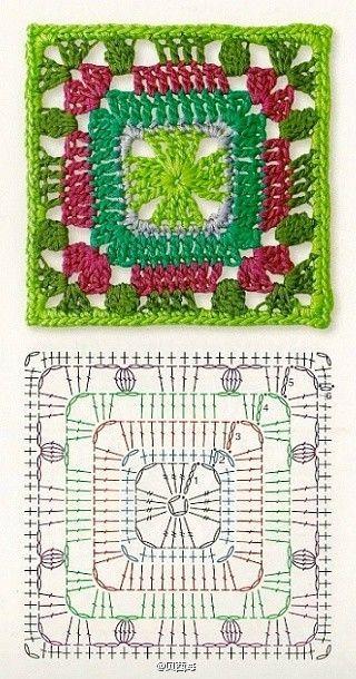 Pretty crochet square with diagram.: