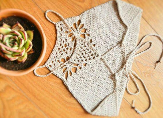 Three Flowers Crochet Crop Top