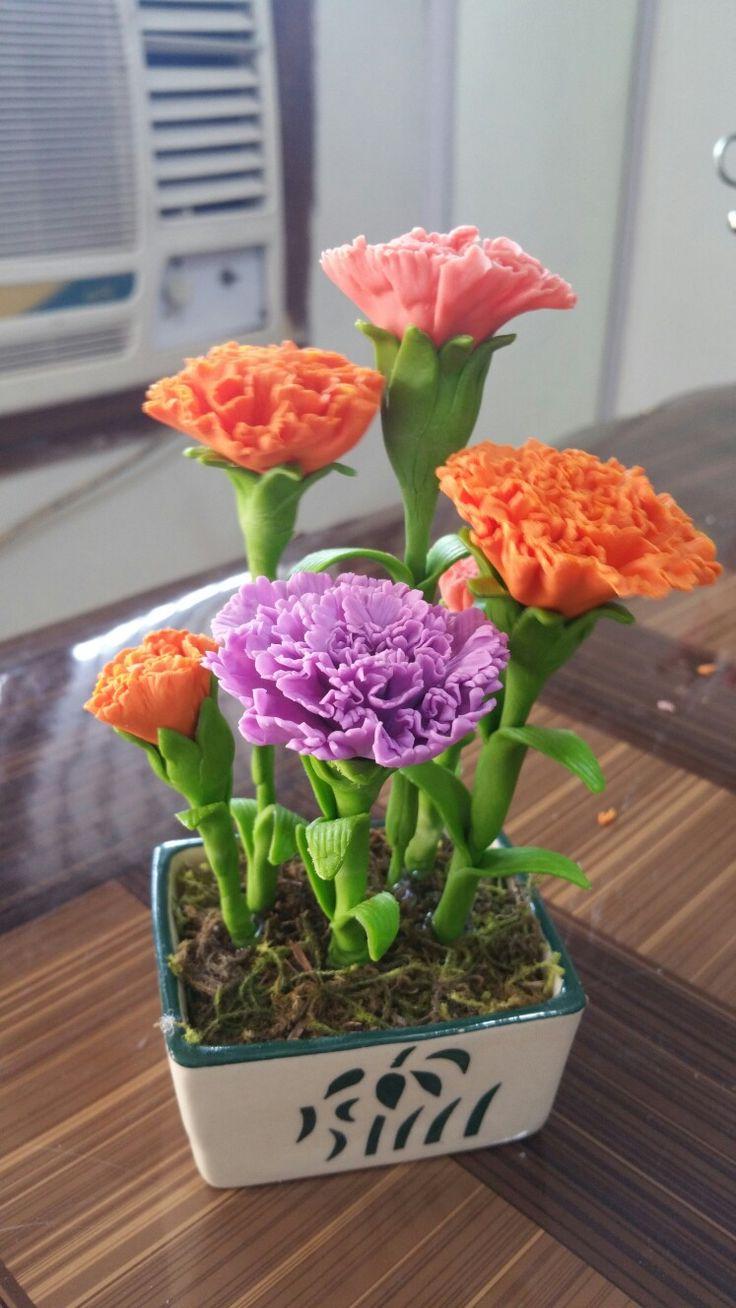#Handmade #ThaiClay #Multicolour #Carnation #Flowers