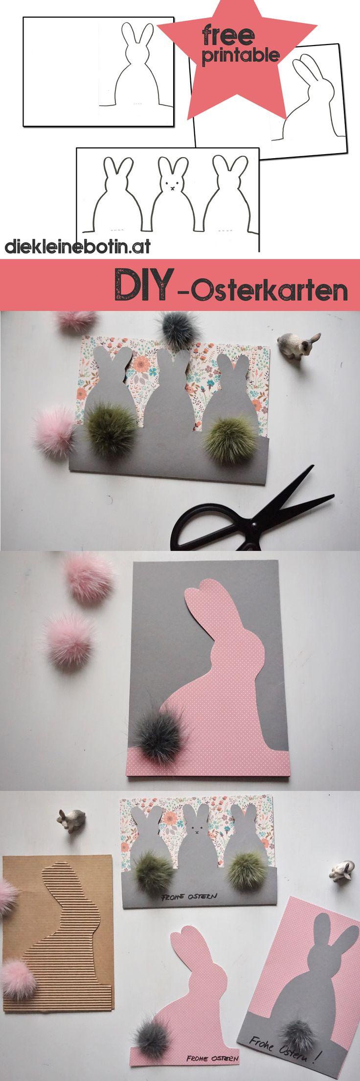 free printable  - ganz besondere Oster Karten selber machen. Einfach ausdrucken und ausschneiden. Einfache und nette Geschenksidee mit POMPOM aus Fell oder Wolle! DIY Easter Card, free printable.