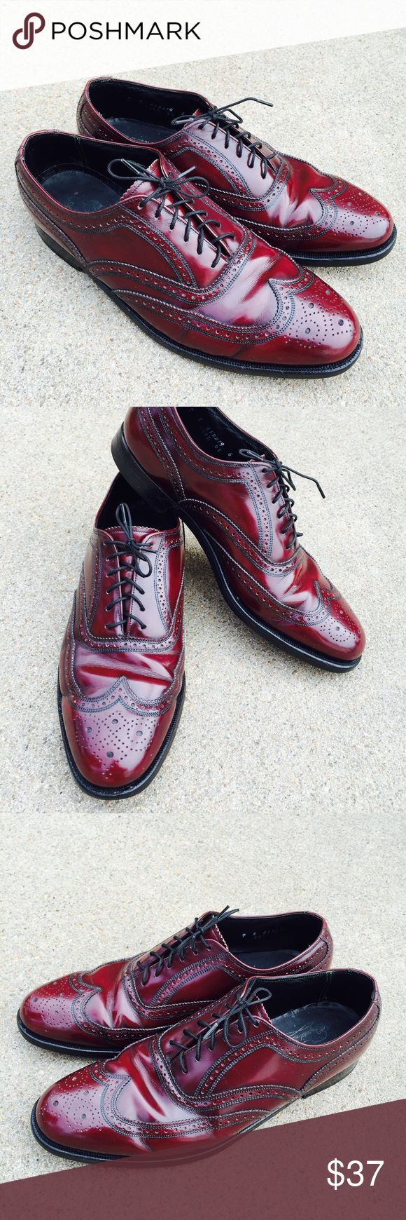 Florsheim Imperial Men's Dress Shoes Burgundy Florsheim Imperial men's shoes burgundy leather wingtip OXFORD brogue Size 9E Condition: Pre-owned, some wear inside and outside. Florsheim Shoes Oxfords & Derbys