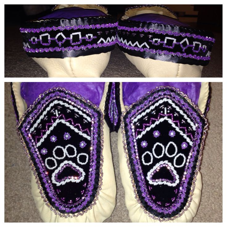 The latest completed pair! Haudenosaunee raised beadwork moccasins - adult men's wolf clan