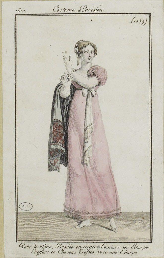 """Costume Parisien (1059), 1810. """"Robe de Satin, Brodée en Argent. Ceinture en Echarpe. Coeffure en Cheveux Tresses avec une Echarpe"""""""