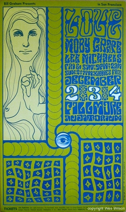 Wes Wilson poster. Arthur Lee and Love at the Fillmore