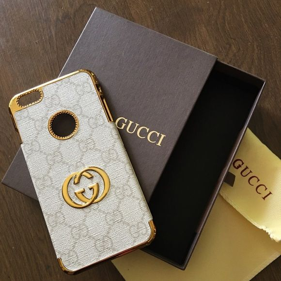 63085770fa92b Gucci case iPhone 6s Plus case New inspired white with gold Gucci print