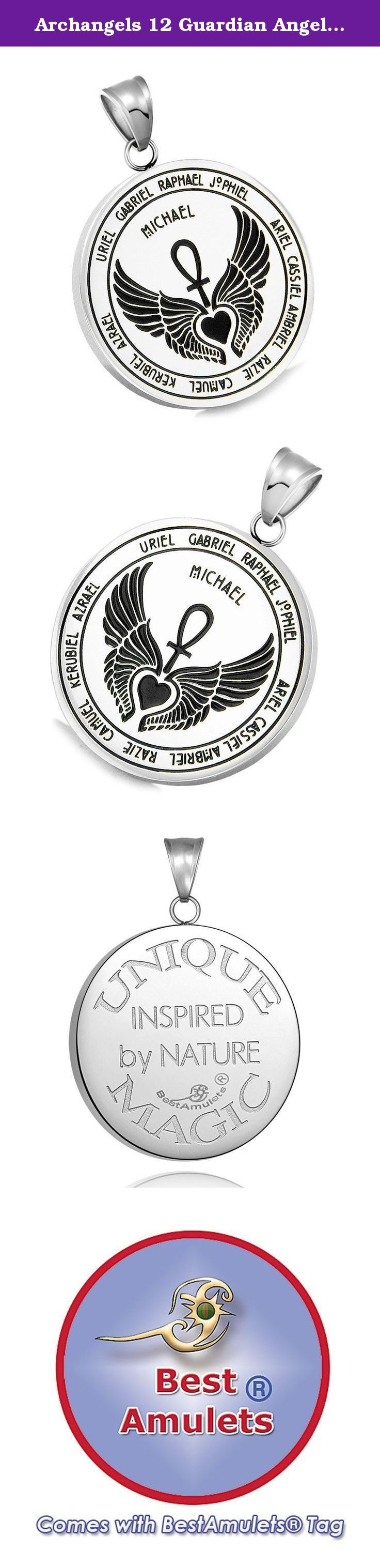 Archangels 12 Guardian Angels Medallion Wings Heart Ankh Life Power Magic Amulet Pendant 22 Inch Necklace. Absolutely Unique and Special Archangels 12 Guardian Angels Amulet with Magic Powers. The Symbols are Engraved over the Medallion and Looks absolutely Amazing. The Amulet is Designed listing All 12 Archangels - Michael, Uriel, Gabriel, Raphael, Jophiel, Ariel, Cassiel, Ambriel, Raziel, Camuel, Kerubiel and Azrael and has Beautiful Angel Wings embracing Heart and Ankh Power of Life...