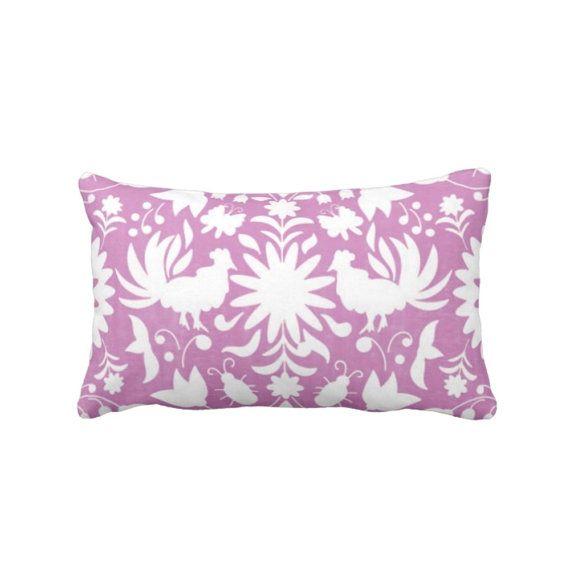 """Impresión de otomí almohada Lumbar, 13 x 21"""" orquídea interior o exterior y blanco Animal/animales flores, luz púrpura/color de rosa brillante"""