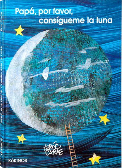 Papá , por favor, consigueme la luna / Eric Carle. Mónica quería jugar con la luna, así que le pidió a su papá que se la bajase. El papá trajo una escalera larguísima y trepó hasta llegar a ella. La luna era demasiado grande, pero le prometió que cada noche se haría más pequeña y entonces se la podría llevar… Un libro con páginas desplegables que muestra claramente dónde debe estar la luna.