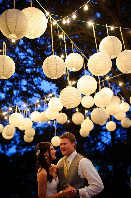 hang lanterns from strings criss-crossed across ceiling so that you only need to attach the string to the ceiling (or high up on the wall) - very securely