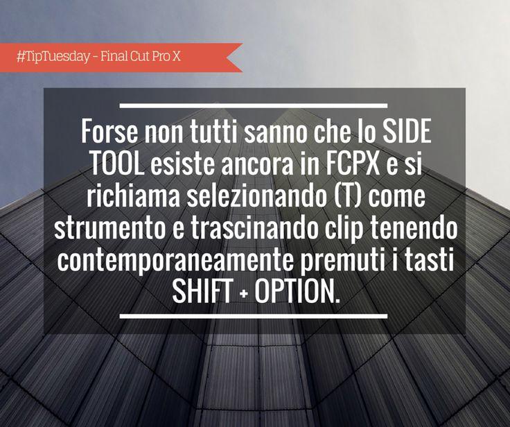 #TipTuesday - Giorgio Lovecchio: forse non tutti sanno che lo SIDE TOOL esiste ancora in FCPX e si richiama selezionando (T) come strumento e trascinando la clip tenendo contemporaneamente premuti i tasti SHIFT + OPTION