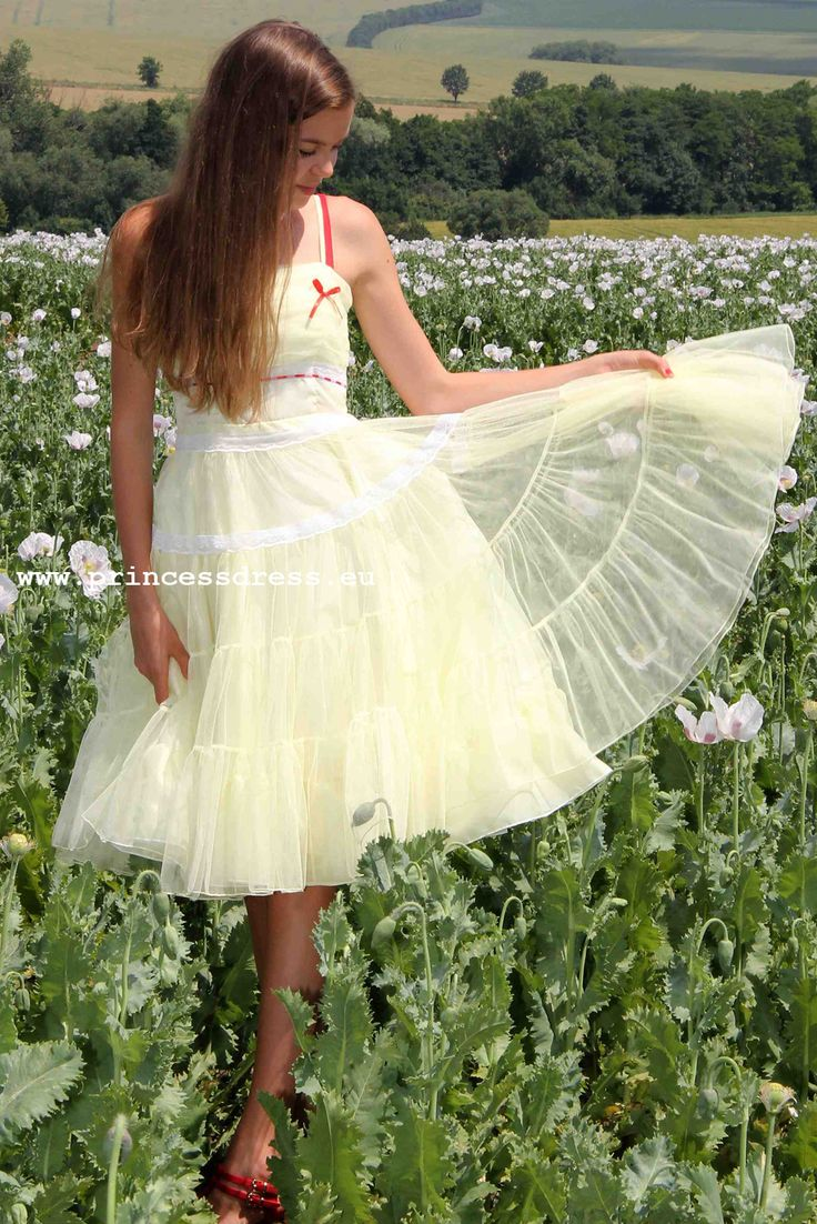 Yellow Tulle Dress. Frenchy Grease Inspired Dress