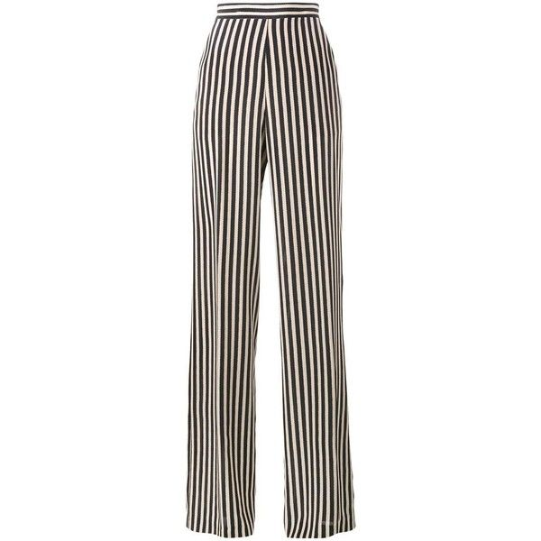 Etro Stripe Wide-Leg Trousers (€320) ❤ liked on Polyvore featuring pants, bottoms, trousers, jeans, striped pants, etro, stripe pants, striped wide-leg pants and striped trousers