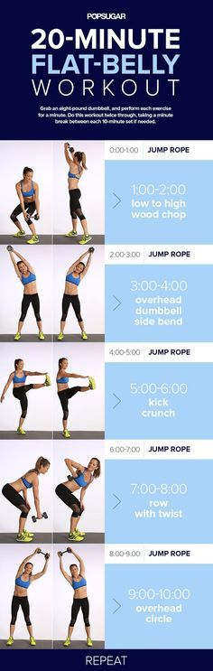 Kick it up a notch this week. This workout quickie fights belly fat with jumprope for cardio intervals and moves that tone the abs. It's only 20-minutes.