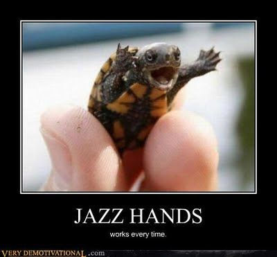 Turtle meme doing jazzhands.  This one is for my friend Shauna A.  Just thought of you.