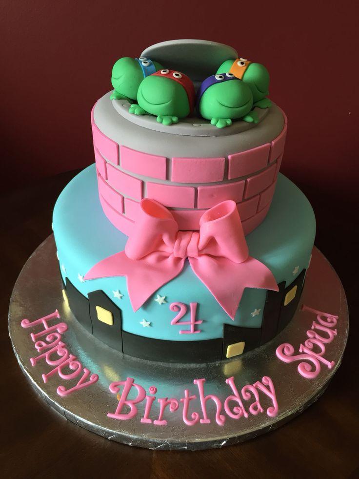 Ninja Turtles Birthday Cake Turtle For Each Layer