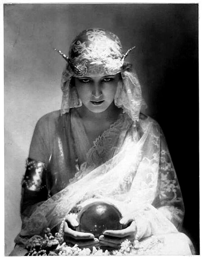 Fortune Teller . Crystal Ball . Antique Photo