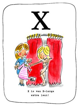 Alfabetkaart, X is van x-large- Greetz