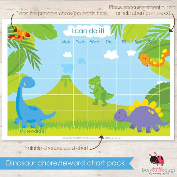 Help your little ones be organised with our colourful and fun chore/reward chart packs. Little boys will love our cute Dinosaur pack!    In