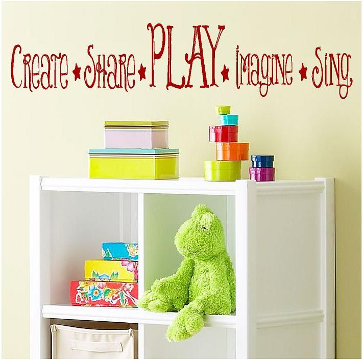create share play imagine sing childrens vinyl lettering words wall quotes graphics home decor. Black Bedroom Furniture Sets. Home Design Ideas