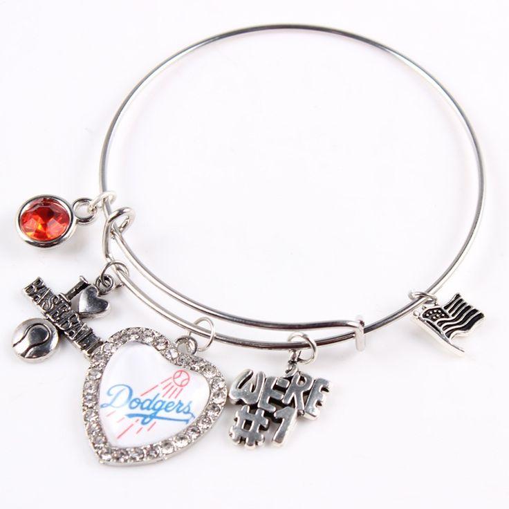 MLB Los Angeles Dodgers Baseball Bracelet Mix Styles Sport Alloy Adjustable Bangles Jewelry 10pcs