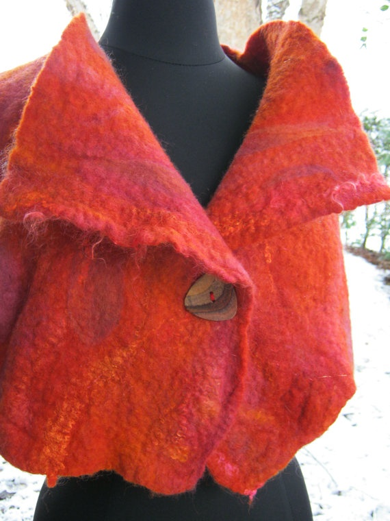 Red Vest Felted Wool and Silk by ArtUCurious