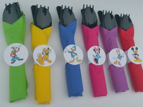 10  Mickey Mouse Party Cutlery Pre-wrapped utensils by HelloFaith