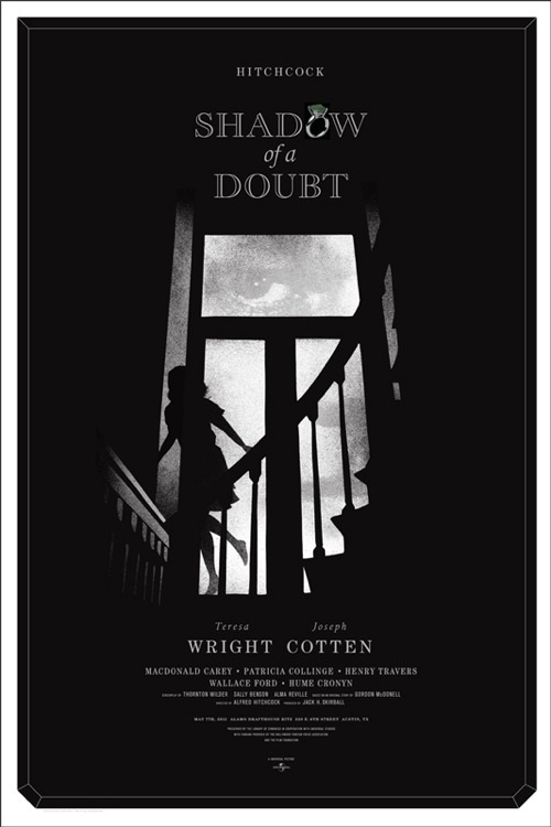 Shadow of a Doubt --by Alan Hynes--: Movie Posters, Hitchcock Shadows, Doubt Posters, Movies, Alfred Hitchcock, Film Posters, Film Noir, Alan Hyne, Hyne Shadows