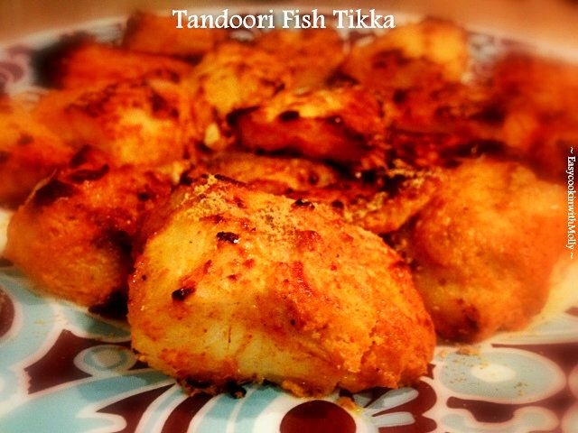 Tandoori Fish Tikka(Made in Oven) - Light, Succulent & Healthy recipe. Fish marinated in spices, lemon, curd & cooked to perfection in oven. #glutenfree #brunch #recipes