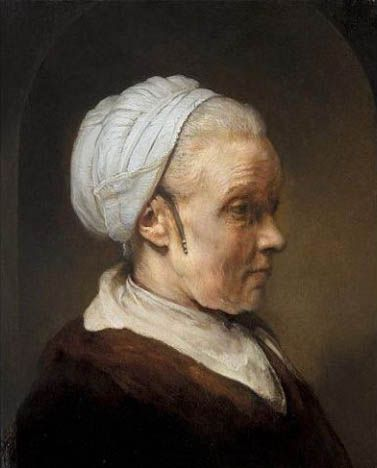 Study of an Elderly Woman in a White Hat, Rembrandt