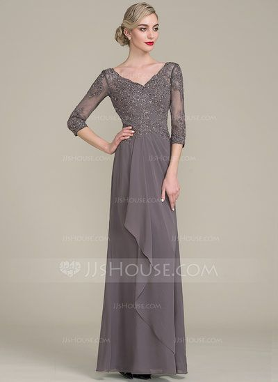 A-Line/Princess V-neck Floor-Length Beading Sequins Cascading Ruffles Zipper Up Sleeves 1/2 Sleeves No Other Colors General Plus Chiffon Lace Height:5.7ft Bust:33in Waist:24in Hips:34in US 2 / UK 6 / EU 32 Mother of the Bride Dress