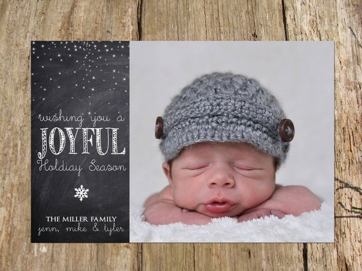 Christmas Holiday Photo Greeting Card, Chalkboard Joyful Snowflake Design by RSVPinvitationsbyme on Etsy