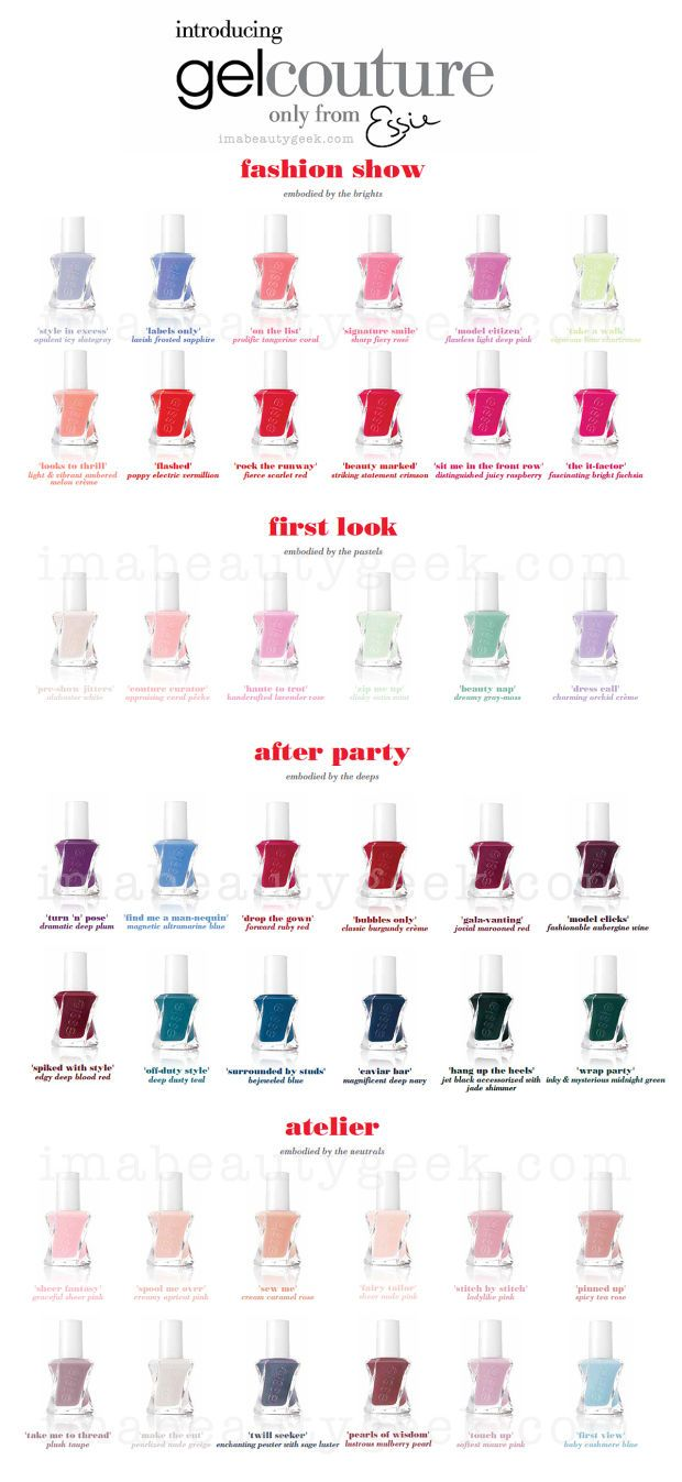 Essie Gel Couture shade chart. Full swatches & review at imabeautygeek.com