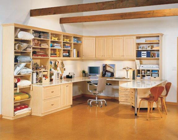 Craft counter home office workstation with file cabinets - Home office cabinet design ideas ...