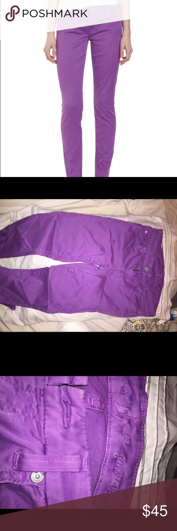"7 for all mankind Women's Purple The Skinny Jeans Great condition minus a minor stain on one of the backside pockets as shown in photo. Fades into color of the jean and isn't super noticeable. Could potentially be fixed with heavy washing. Size 26. * 7.5"" rise. 30"" inseam. * 10"" leg opening. * Fabrication: Stretch denim. * 98% cotton/2% spandex. 7 For All Mankind Jeans Skinny"