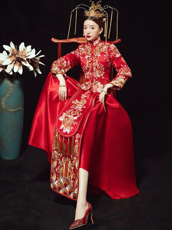 c79d1104046b Red Embroidered Floral Chinese Wedding Xiu He Fu - Jacket & Skirt Cheongsam,  Designer Dresses