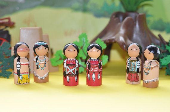 Peg dolls  Indian people  native American  by vicsecretgarden