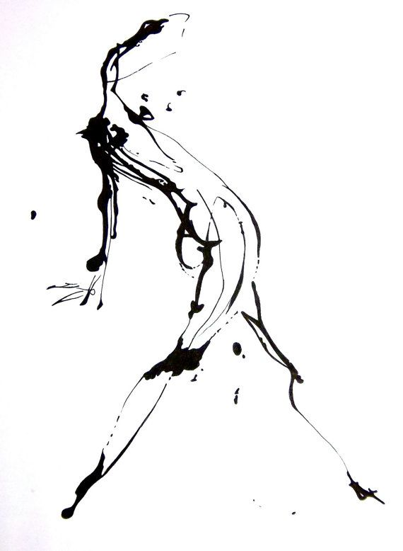 "RESERVED - 3 Ink Splatter Original Drawings (8"" x 10"")  - Horizontal Layout - Modern Art, Abstract Figure"